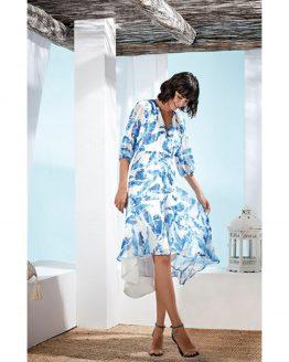 vestido estampado azules Paz Torras