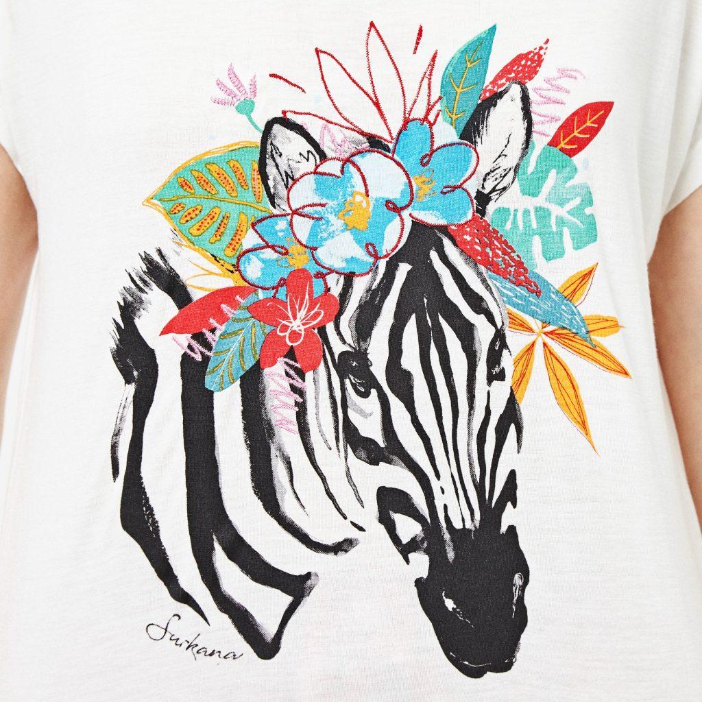 detalle camiseta mujer surkana cebra