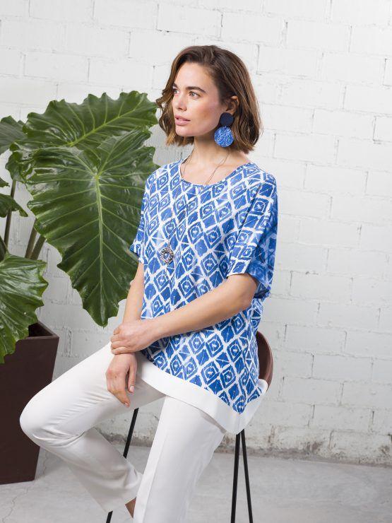 Blusón estampado azules Mariña Riveiro-Hortensia