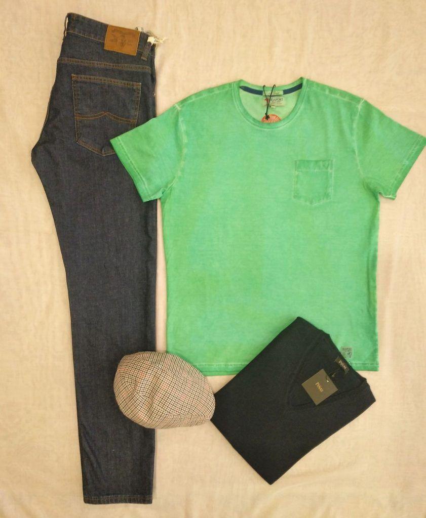 camiseta hombre verde