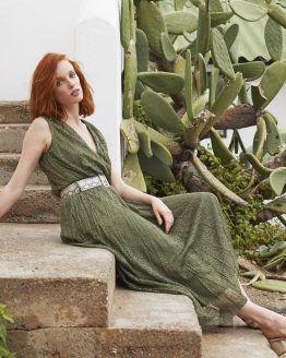 Vestido largo verde marina riveiro hortensia