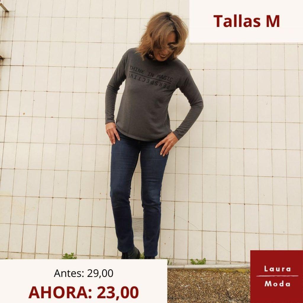 camiseta gris de mujer